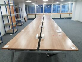 2 Walnut and grey framed 8- seater/person pod/bench/hot desk call centre office desks