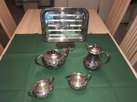 SILVER PLATE 5 PIECE TEA SET 4 PIECES ARE HARRISON BROS & HOWSON