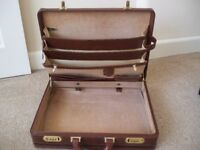 Old tan leather brief case
