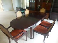 Meredew dark wood, extendable dining table with six chairs