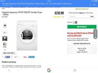 Whirlpool tumble dryer/sold