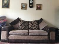 2 Brown & Cream Fabric Sofa's (3 seater & 2 seater)