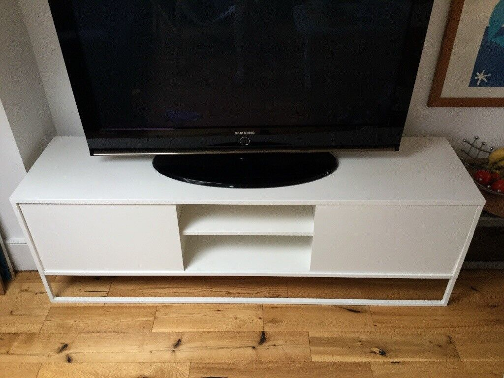 Smart And Sturdy White Cabinet Style Tv Stand Only 95 In