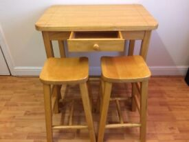 Solid Wood Tall Table with Draw and 2 Chairs Excellent Condition