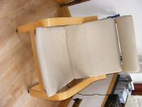 Ikea Poang Chair with Beige Leather Cover, Classic Ikea Chair at Bargain Price