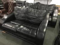 Quality black leather 3 and 2 sofas