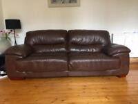 Leather DFS 3 seater sofa in chocolate brown in really good condition