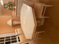 Italian effect Dining set. 6 chairs, extendable table with mirror and cabinet