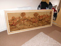 Framed Carpet Tapestry Picture English Hunting Scene 6ft x 28.5 inches