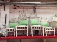 4 Piece x Ex Display Mandap Throne Chairs White Asian Wedding Queen Indian King Stage Set Mehndi