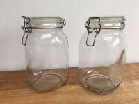 KILNER STYLE GLASS AIRTIGHT STORAGE JARS / CANNISTERS