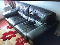 Beautiful dark charcoal grey leather 3 seat sofa