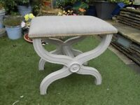 STOOL with very elegant base,beige,FABRIC SEAT,nice or ideal for makeover,upcycle,BRISTOL