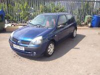 Renault Clio Extreme 2, 1.1l Petrol 3dr, Blue, 2003, 56k miles, E/W, Sun roof, MOT July'19