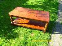 Pine Coffee Table dark natural wood colour with shelve under