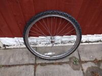 bicycle wheel complete with tyre and inner tube - size is 24 x 44/50