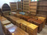 Quality used solid wood / pine bookcase, dresser, display cabinet & more