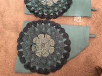 Teal floral curtain tie backs
