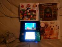 Nintendo 3ds aqua blue console with charger & 3 games including super mario