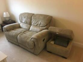 x2 seater reclining Sofa with Storage foot rest