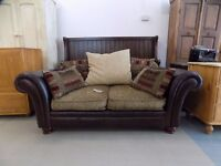 Brown Leather & Fabric DFS Perez 2 Seater Sofa