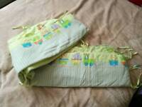 Cot bumper, new cot mobile, wedge pillow