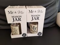 Mr and Mrs Mason Jars Brand New Boxed Wedding Gift Drinks Bride and Groom