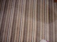 Brown/beige/cream thinly stripped carpet