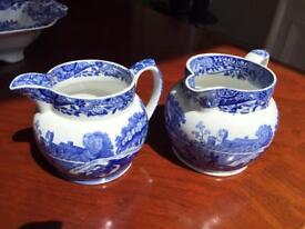Set of 2 Copeland Spode blue Italian vintage porcelain jugs