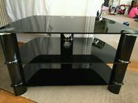 Glass TV Stand in Black/Chrome