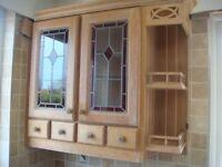 Solid Oak Corner Storage Cupboard with Spice Rack