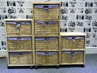 3 piece wooden wicker basket drawer set