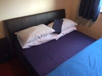 King Size Leather Bed Frame & Mattress (Hardly Used)