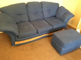 3 seater sofa and foot stool