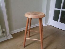 wooden stool with vintage print design