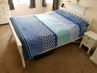 White bedroom furniture set - bed frame bedside cabinets plus 2 solid wood chest of drawers