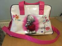Carte Blanche tatty pink teddy overnight holder bag