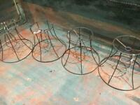 Vintage decorative wire lampshades x4
