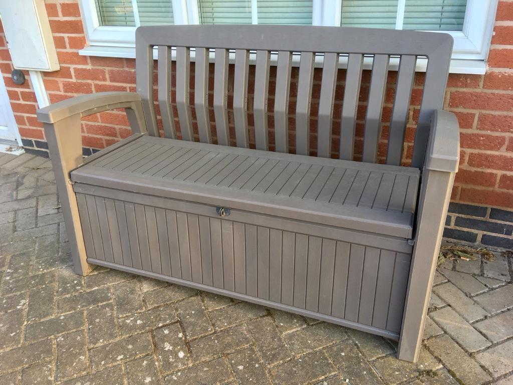 Plastic Garden Storage Bench Box In Rothley