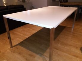 White and Stainless Steel Dining Table