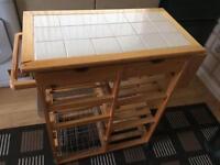 Tile Top Butchers Block Pine Kitchen Unit