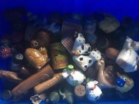 Assortment of salt and pepper shakers.