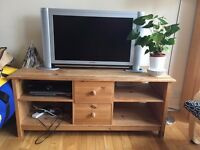 Pale wooden TV stand/cabinet with 4 shelves and 2 drawers