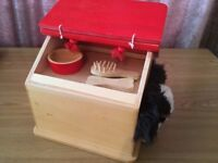 Wooden dog kennel and accessories with dog