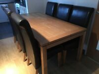 Oak dining table + 6 chairs