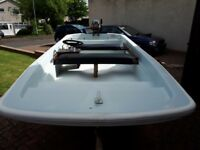13ft Dory boat trailer and outboard