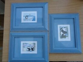 Blue framed picture set