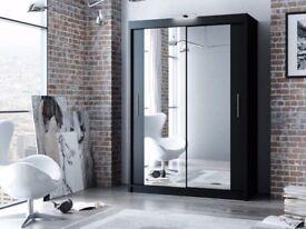 White/Black/Oak/Wenge/Walnut/Grey Modern 2 Sliding Door BERLIN Wardrobe Mirror LED 120/150/180/203