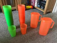Plastic Garden cups and jugs picnic ware set