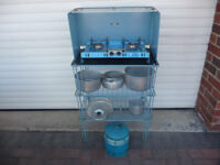Camping equipment, Stove, shelves, pans & gas bottle
